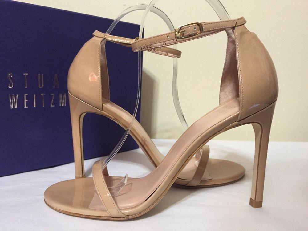 Stuart Weitzman Nudist Song Adobe Aniline Patent Leather Women Heels Sandals 8 M #StuartWeitzman #FashionHeelsSandals #CasualFormalEvening