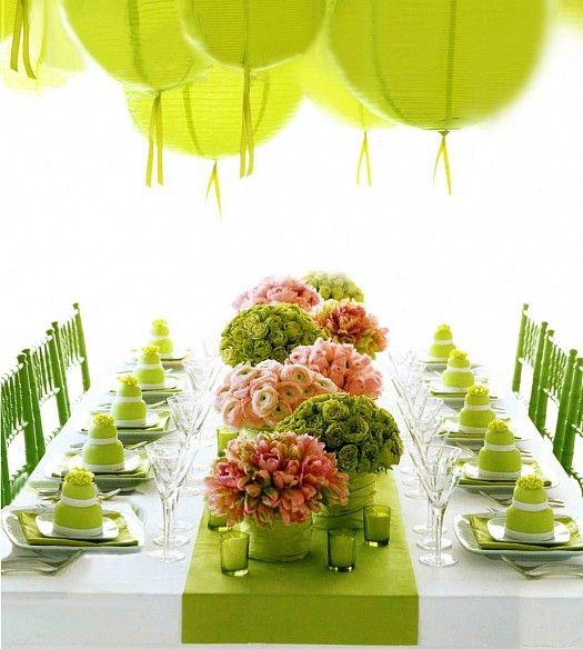 ديكورات طاولات أفراح من مارثا ستيورات Green Table Table Decorations Green Party
