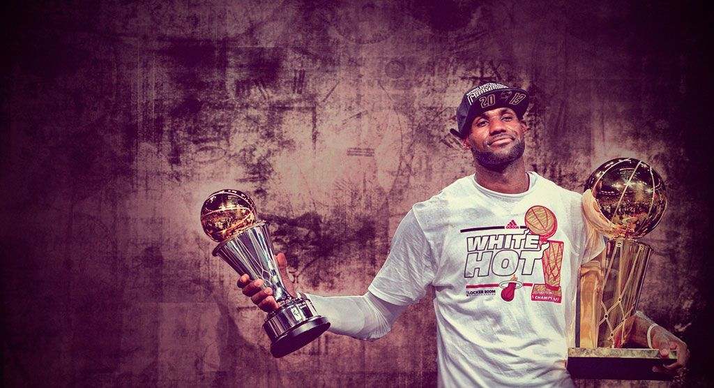 Wallpaper of LeBron James with Bill Russell and Larry O'Brien trophies he won in 2013 NBA Finals... Full size available at - http://www.basketwallpapers.com/USA/LeBron-James/