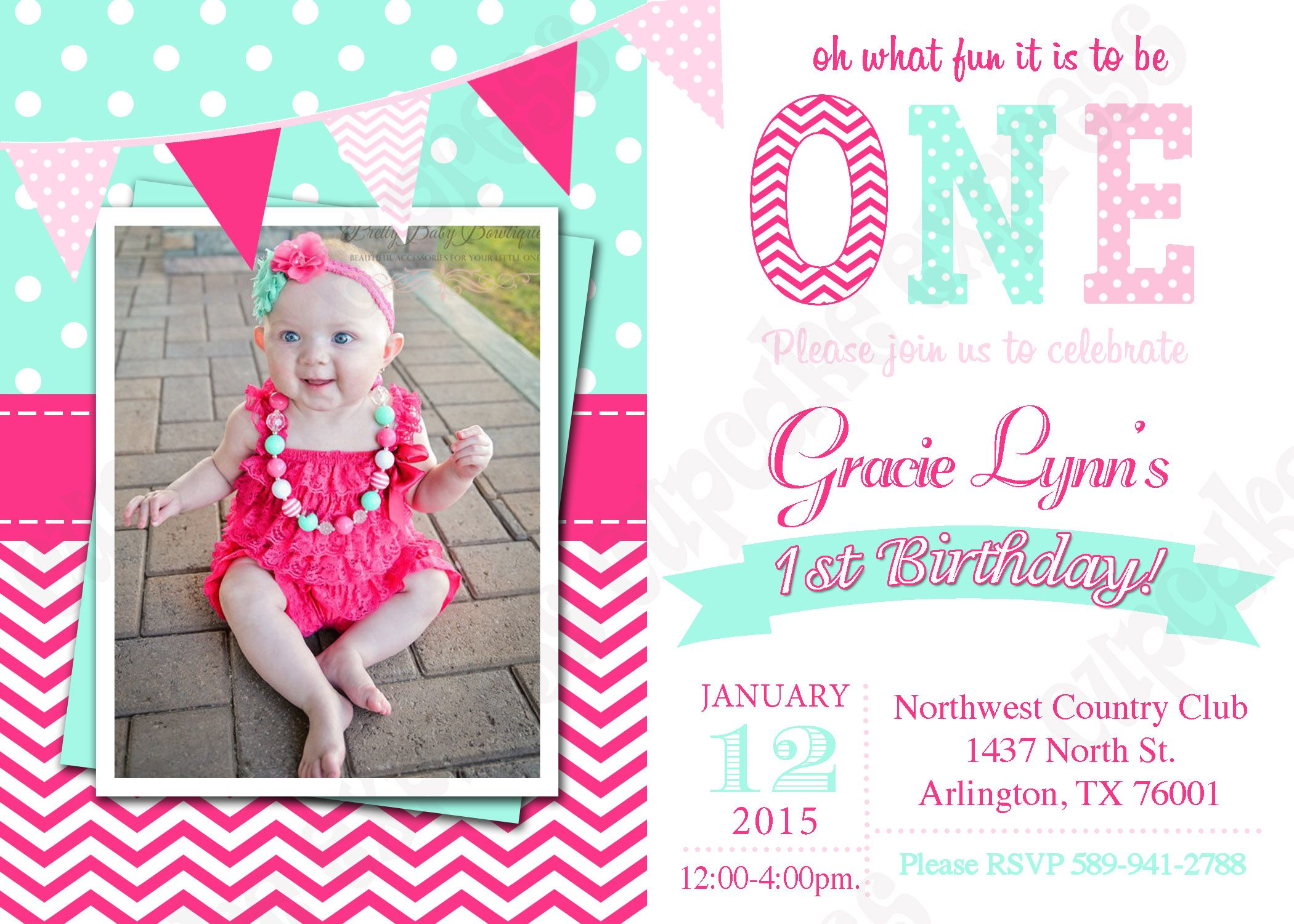 One First Birthday Party Invitation photo hot pink Teal Aqua mint – Pink 1st Birthday Invitations