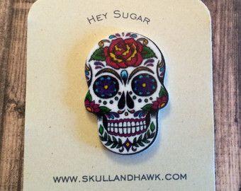 Hey Sugar White w Blue Cross Sugar Skull by SkullAndHawk on Etsy