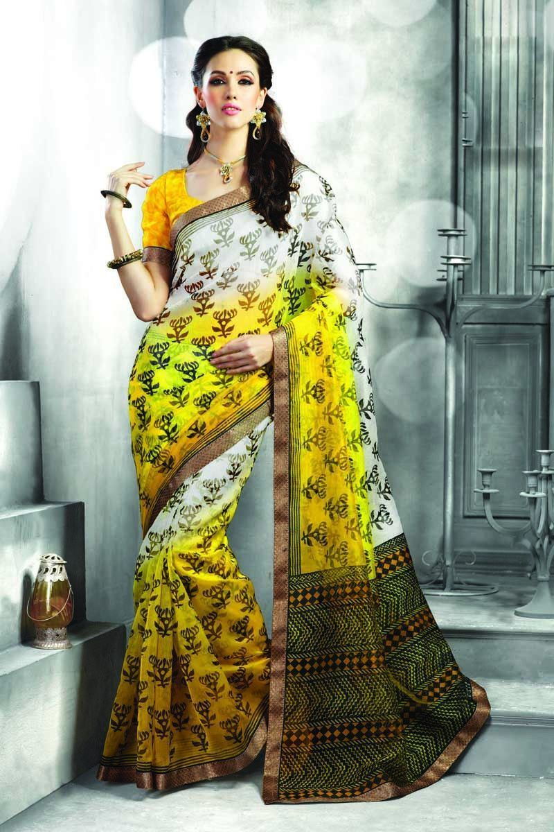 Off saree model images off white and yellow super net printed saree  products  pinterest