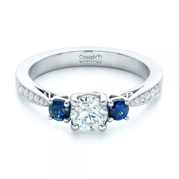 Custom Three Stone Blue Shire And Diamond Engagement Ring