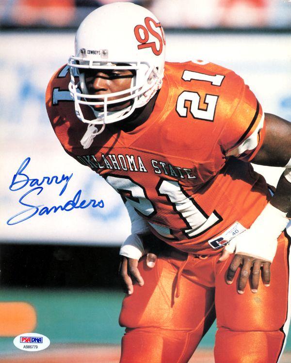 49c06b81 Barry Sanders Autographed 8x10 Photo Oklahoma State Cowboys Vintage ...