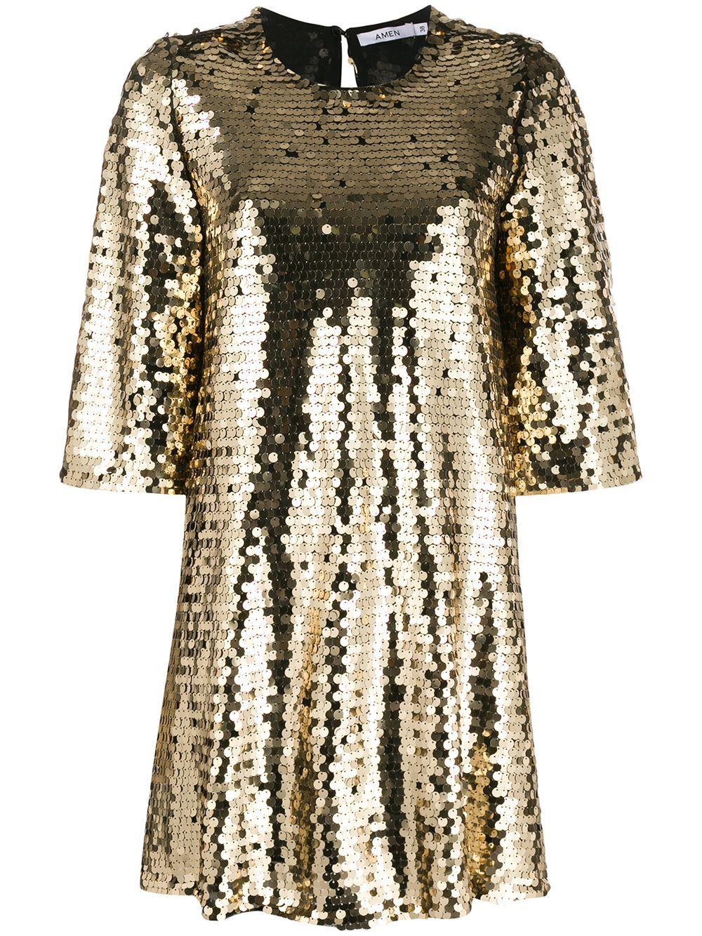 Amen Sequin Shift Dress Farfetch Shift Dress New Years Eve Dresses Dresses [ 1334 x 1000 Pixel ]