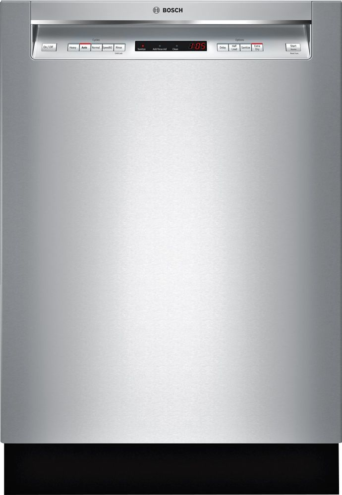 Bosch 300 Series 24 Recessed Handle Dishwasher With Stainless Steel Tub Stainless Steel Shem63w55n Best Buy Steel Tub Best Dishwasher Built In Dishwasher
