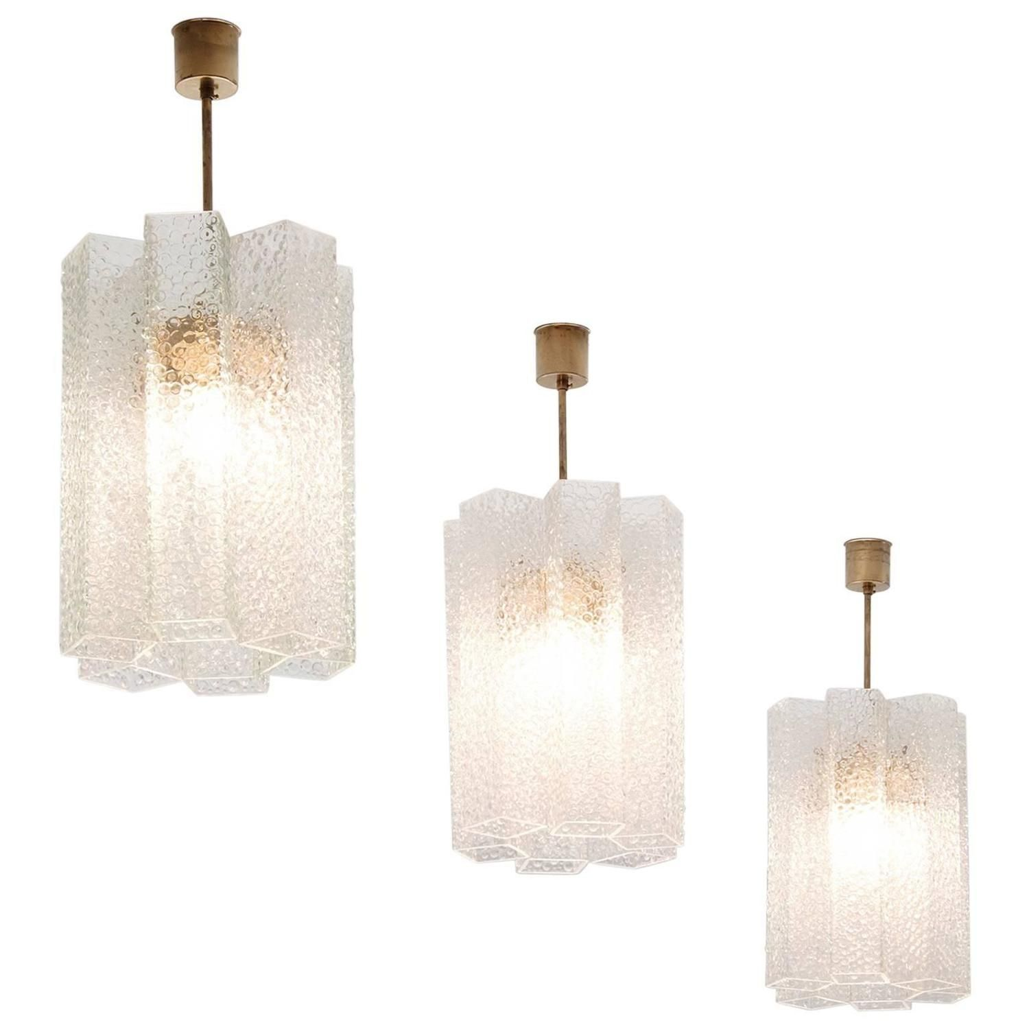 Set Of Two Pendants In Structured Glass And Brass Pendant Lighting - Set of three pendant lights