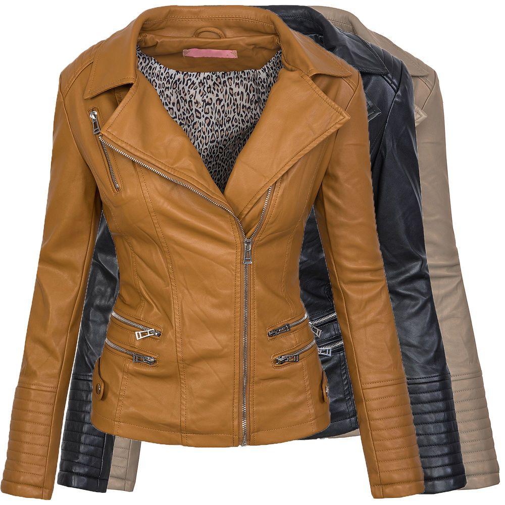 3909f8a65eb2 Details zu Damen Kunstleder Jacke Übergangs Kunst Leder Biker Jacket ...