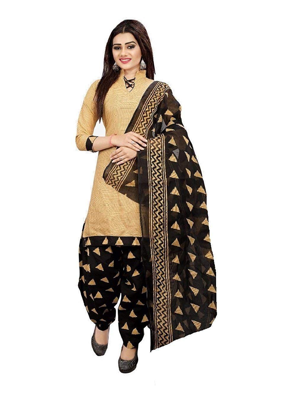 4b9a8066c866 Sretan Women's Cotton Salwar suit Un stitched Dress Material (Beige and  Black) #SretanWomen'sCottonSalwarsuitUnstitchedDressMaterial