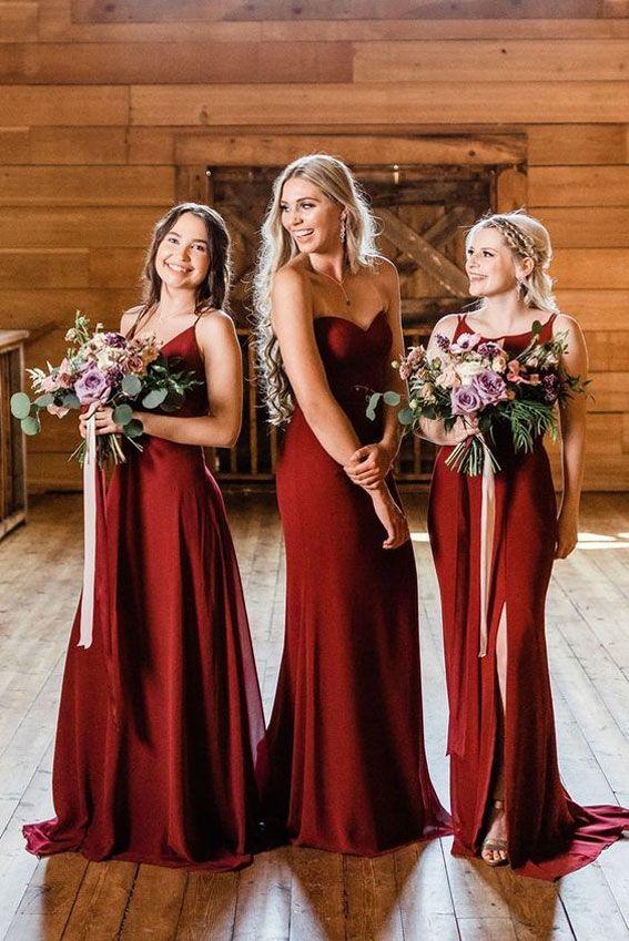 11 Fall Bridesmaid Dress Color Trends Crimson Bridesmaid