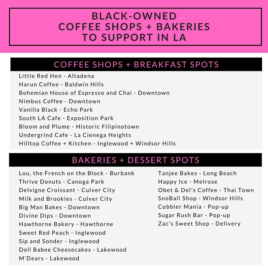 Black Owned Coffee Shops Bakeries To Support In Los Angeles Coffee Shops La Coffee Shop Bakery