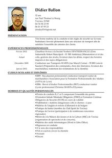 Modele De Cv Chauffeur Livreur Curriculum
