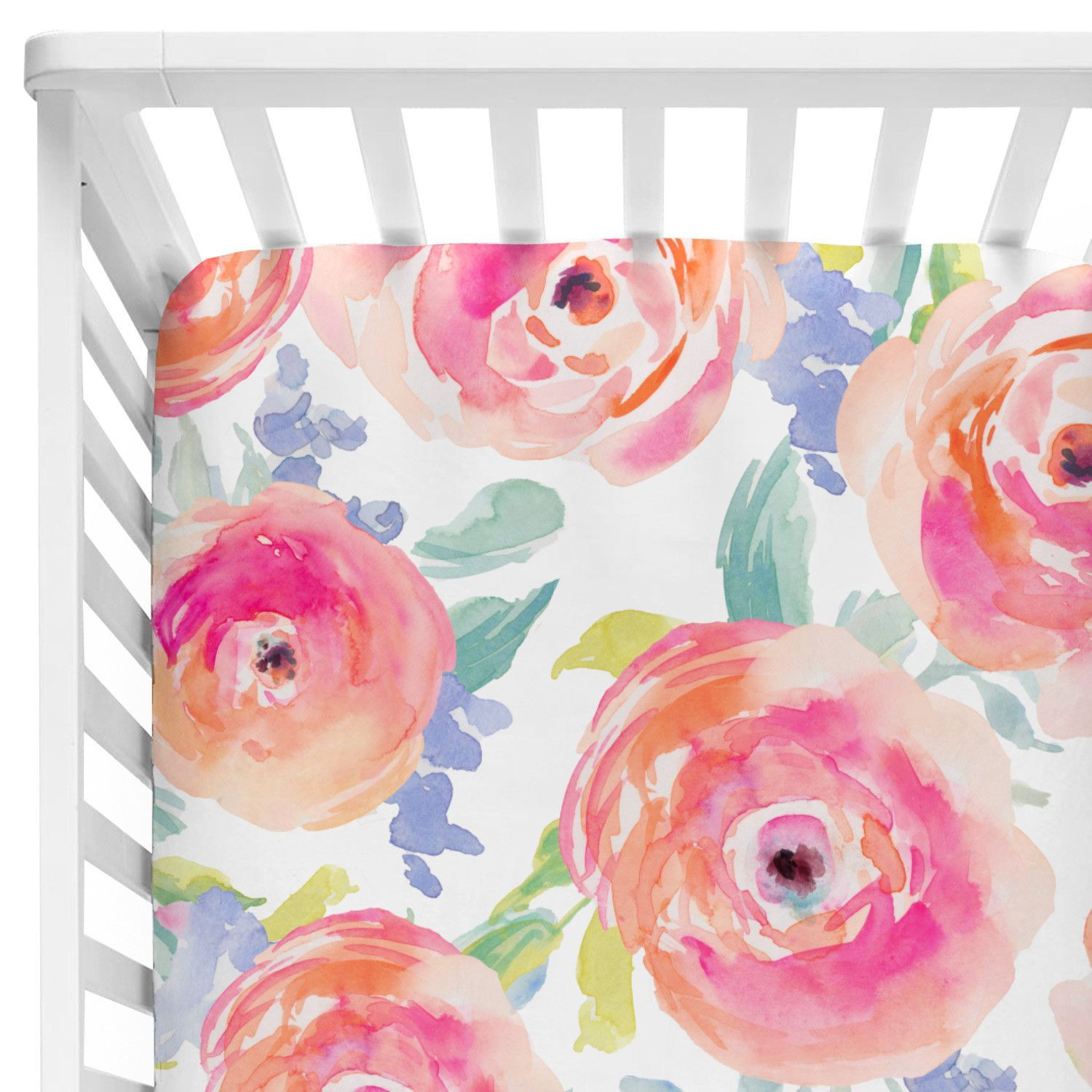 This Bright Floral Crib Sheet Features Fun And Bold Pink Floral