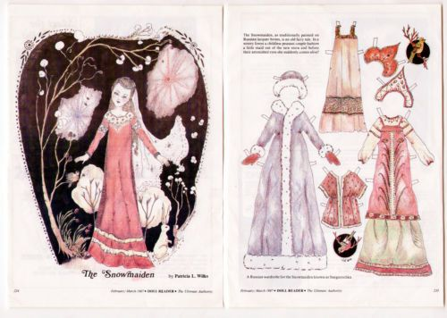 Vintage Doll Reader Paper Dolls 1987 Patricia Wilks The Snowmaiden Uncut 2 Pages | eBay