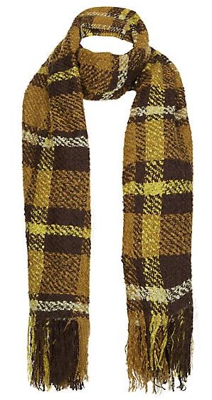 Écharpe en maille bouclette à carreaux jaine, marron vert, New Look ... df9b2a3276e