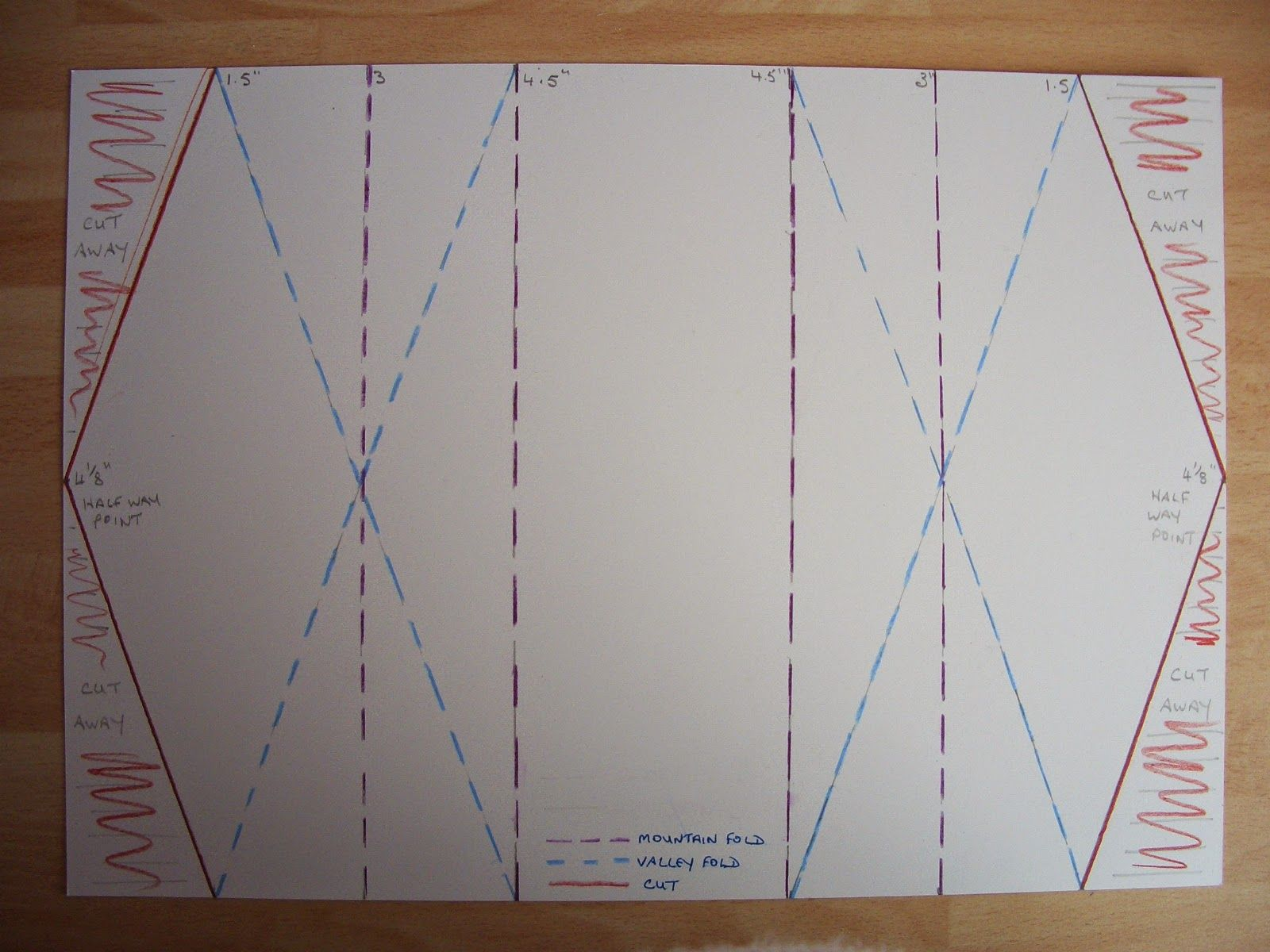 Double Diamond Fold Card Diagram Another Day Another Card Card Patterns Card Tutorials Card Making Templates