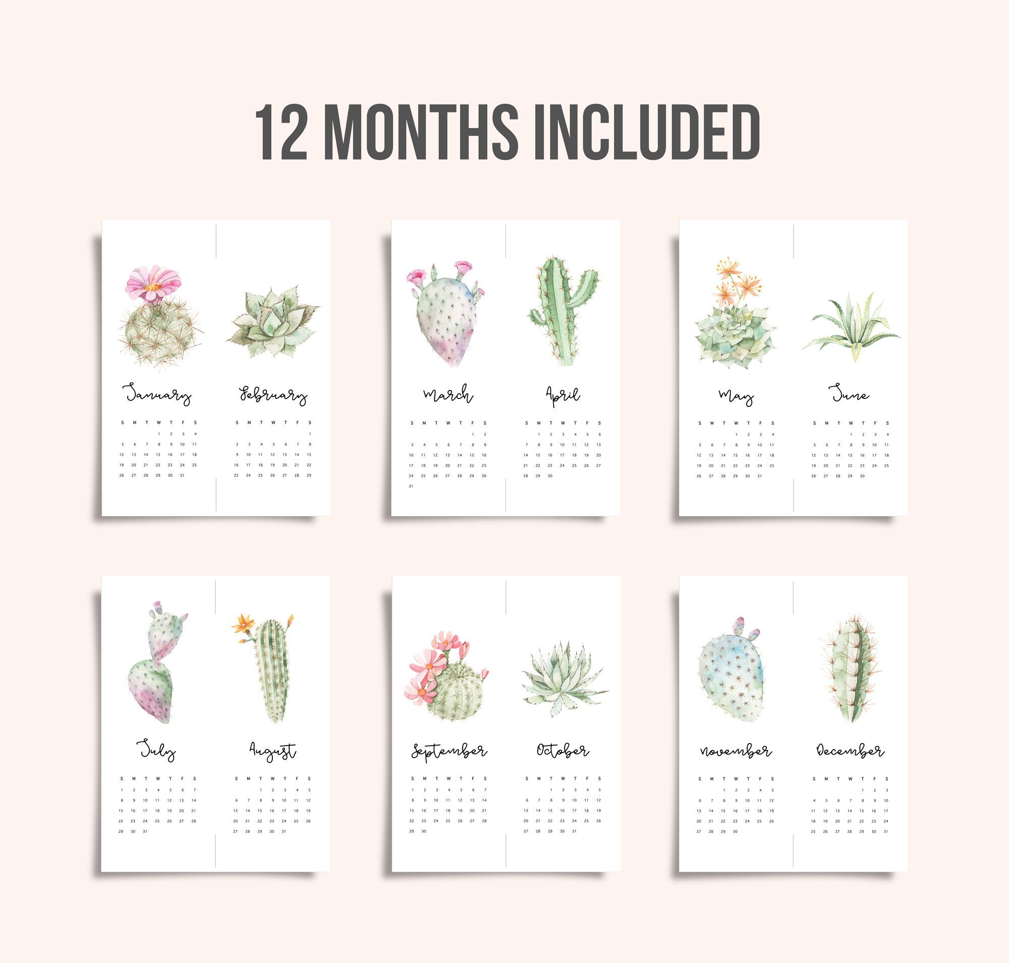 2020 Wall Calendar Printable Small Cute Calendar 2020 Watercolor