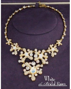 4179415265e19 Custom Rhinestone with Gold Plated Evening Jewelry Set- necklace and ...