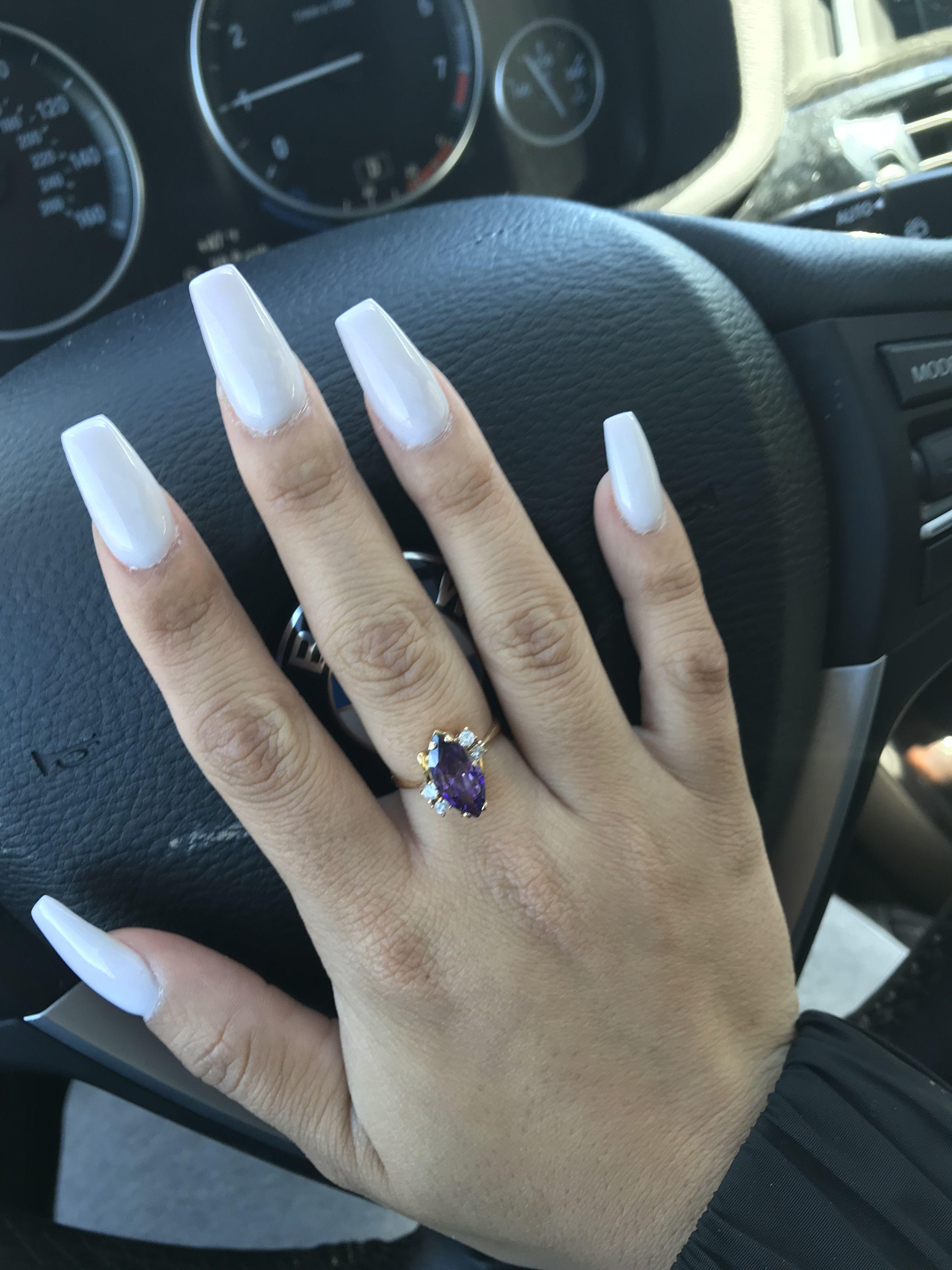 Soft White Powder Powder Nails Nail Ring Nails
