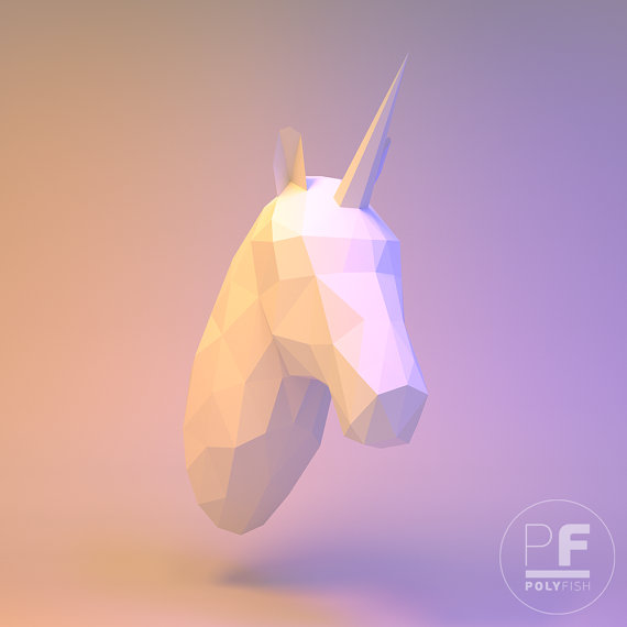 Photo of Horse Head, Unicorn Head (wall hanging, origami horse, origami unicorn, trophy head, papercraft, low