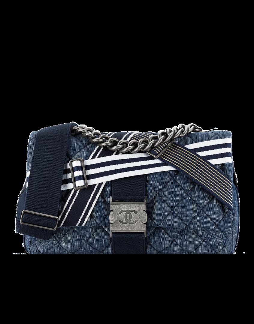 d2658e25289c Flap bag, denim & canvas-navy blue & white - CHANEL #Chanelhandbags ...