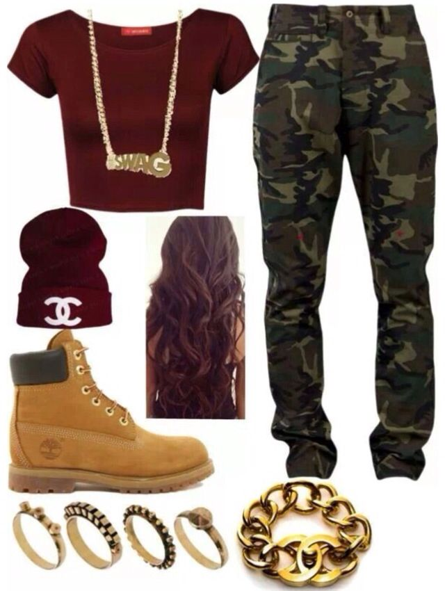 "Burgundy Crop Top/""CC"" Beanie, Gold Chain/Bracelet/Rings, Army Pants, Timbs"