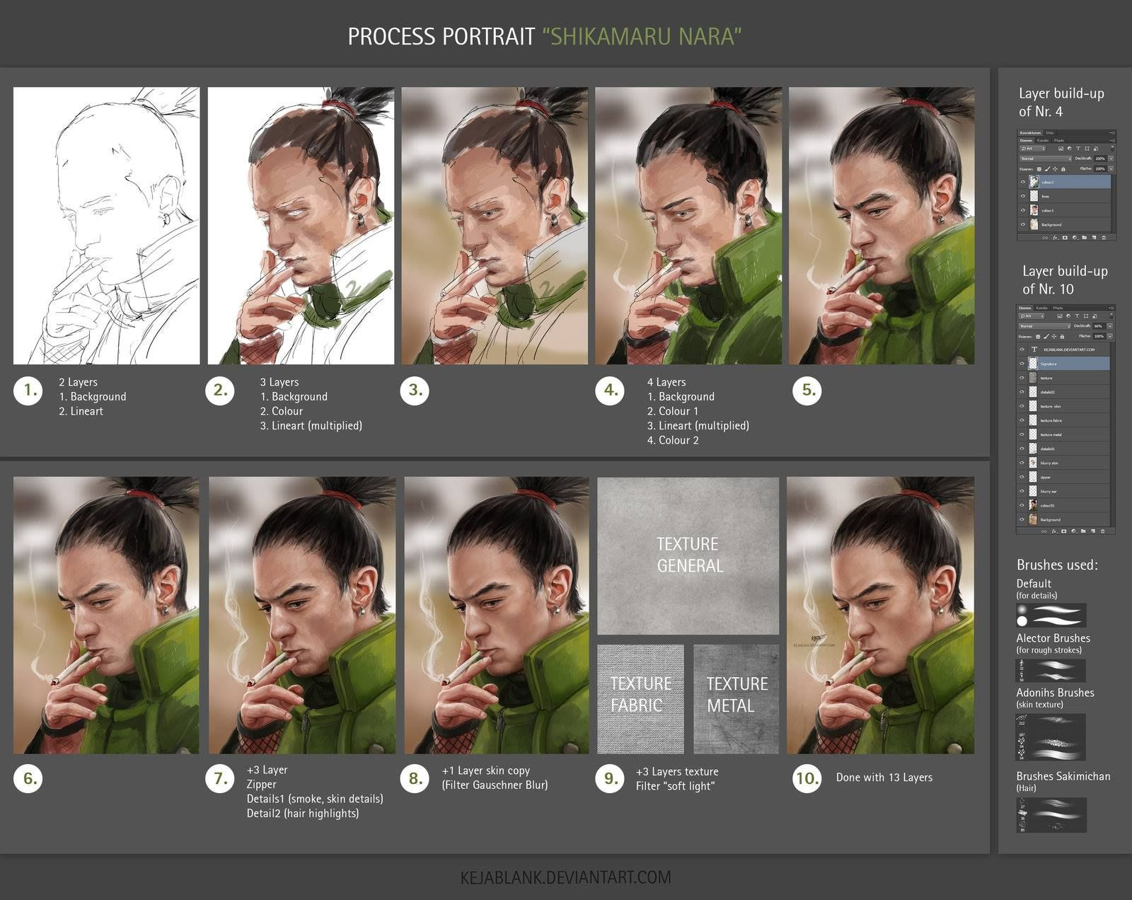 """This walk-through is quick, but detailed, with notes and brushes used to create a portrait of Shikamaru!  """"Process portrait Shikamaru (Tutorial)"""" by KejaBlank (Keja Blank Art): http://bit.ly/1PldeAo"""