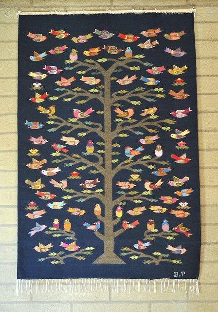 Bird Tree Rug Oaxaca Mexico This Colorful Wool Comes From The Work Of Weaver Bulmaro Perez Teolan Del Valle