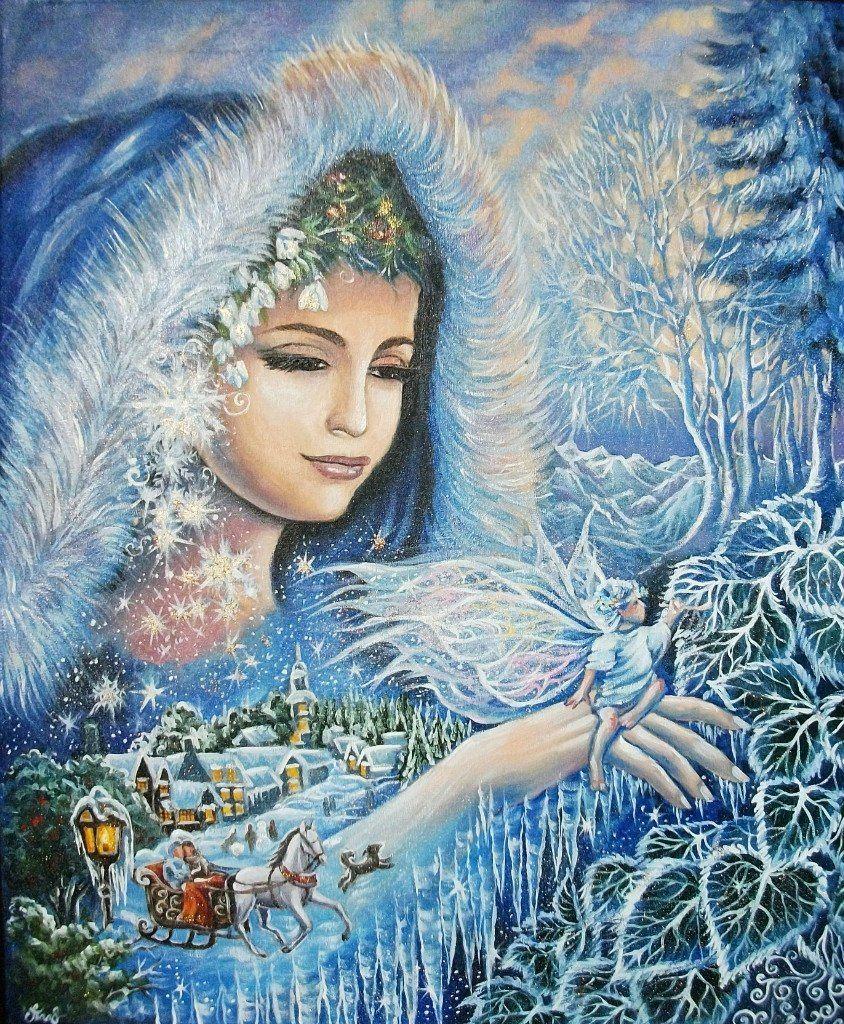 Картинка рисунок зима в образе девушки