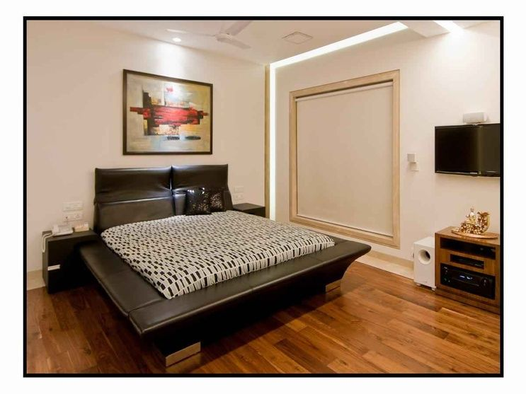 Wooden Flooring Designs Bedroom Black Leather Bed With Wooden Flooring Designamit Walavalkar