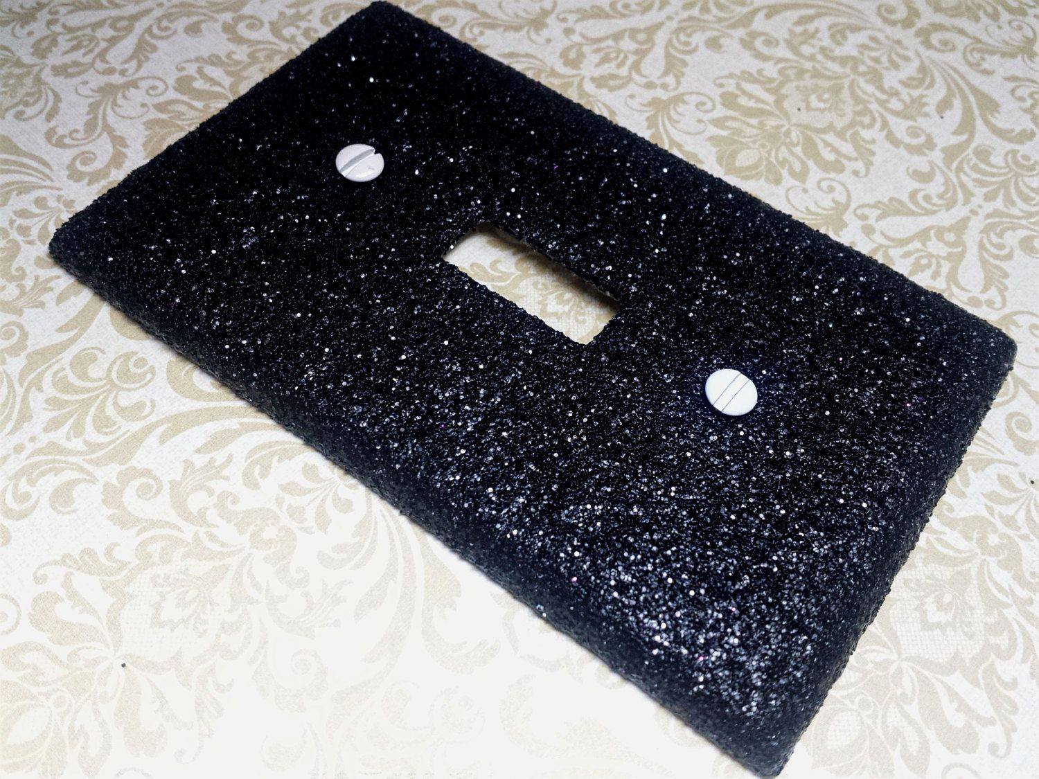 decorative pitch black glitter bling light switch plates rockers u0026 outlet covers - Decorative Switch Plates