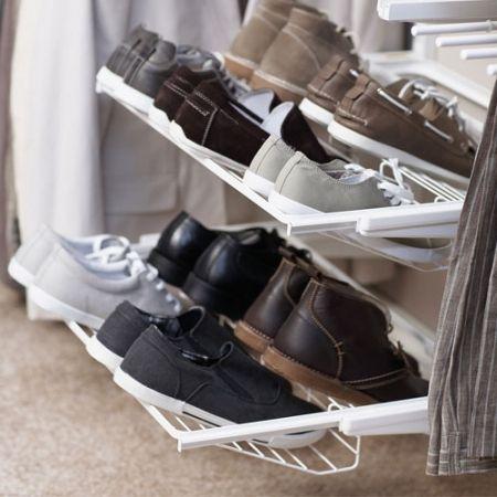 Kayla u0026 Hailey; Howards Storage World | elfa Gliding Shoe Rack for Flat Shoes - White & Kayla u0026 Hailey; Howards Storage World | elfa Gliding Shoe Rack for ...