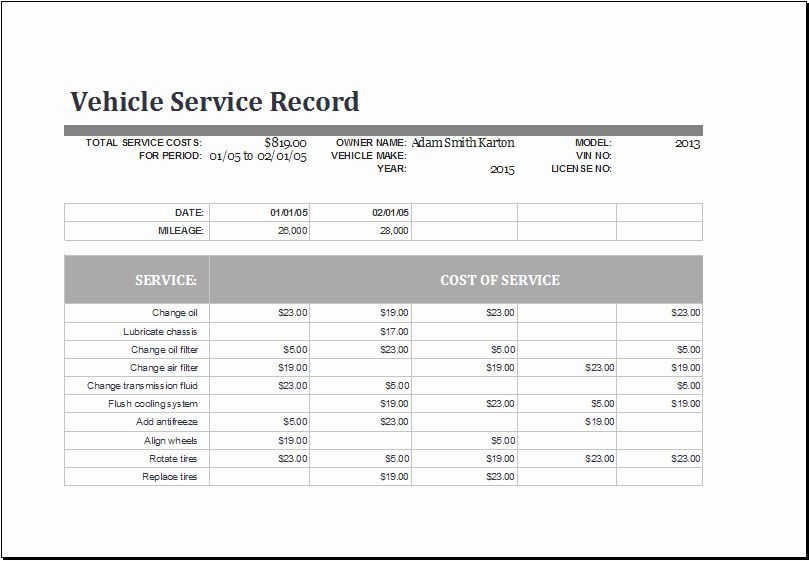 Vehicle Maintenance Schedule Template Beautiful Ms Excel Vehicle Service Record Log Template Vehicle Maintenance Log Schedule Template Excel Templates