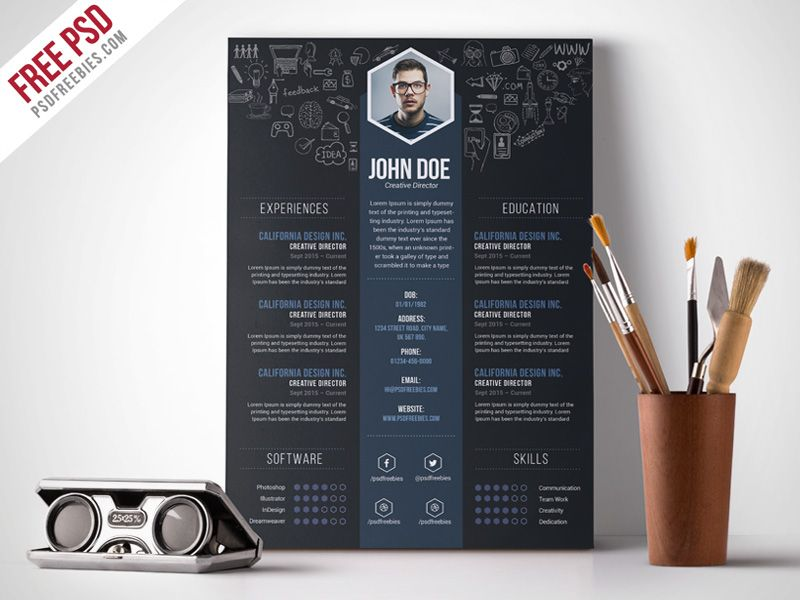 Free Creative Designer Resume Template Psd  Template And Resume Ideas