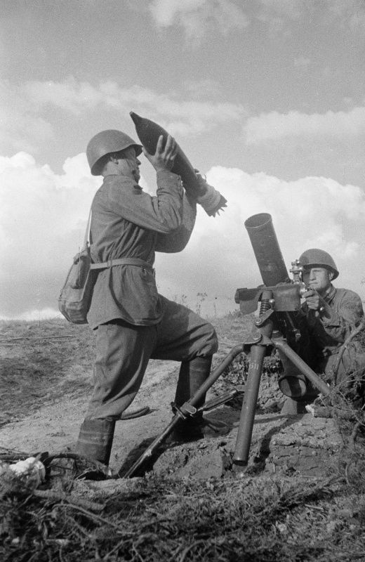 Russian 120 Mm Mortar Crew Firing At The Germans The Round Is
