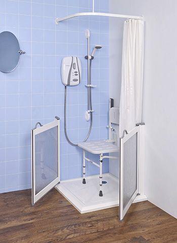 contour corner access wf5 white half height sliding shower