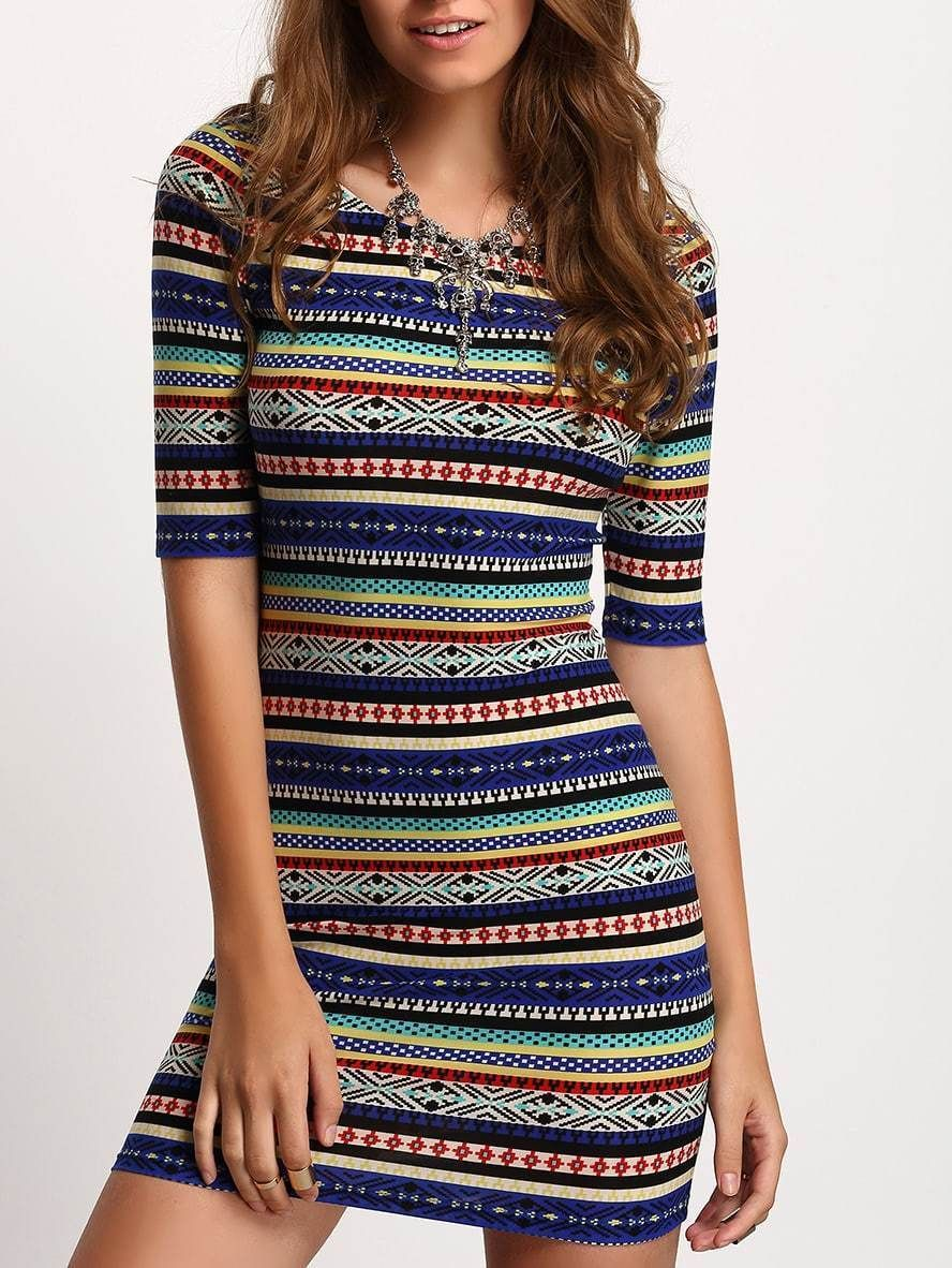 SHEIN Aztec Striped Low Back Bodycon Dress #aztec