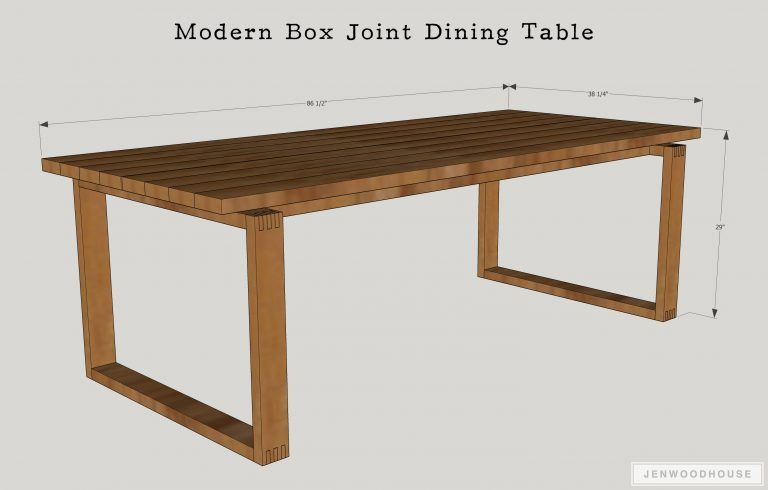 Modern Box Joint Dining Table With Images Diy Dining Room Table Diy Dining Table Dining Table