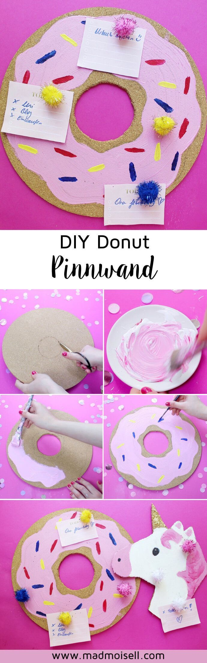 Photo of Make your own DIY pin board for your desk: Donut & unicorn!