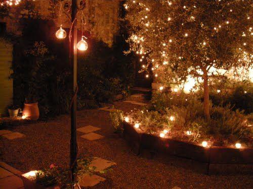 The English Garden At Night Outdoor Deck Lighting Outdoor Deck