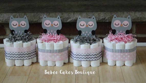 SET OF 4 Pink and Gray Owl Mini Diaper Cakes por BabeeCakesBoutique