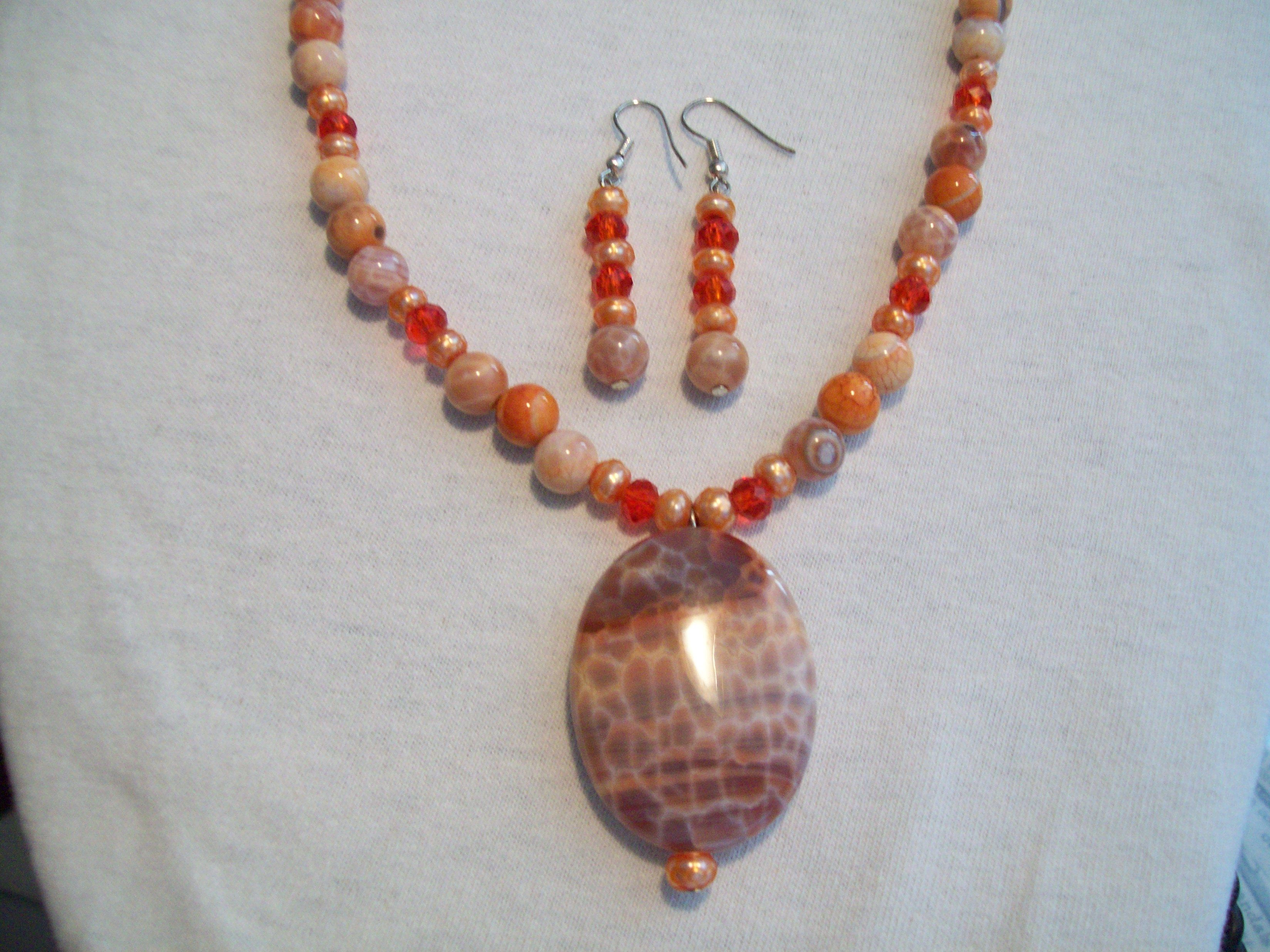 FIRE AGATE NECKLACE $50 including earrings