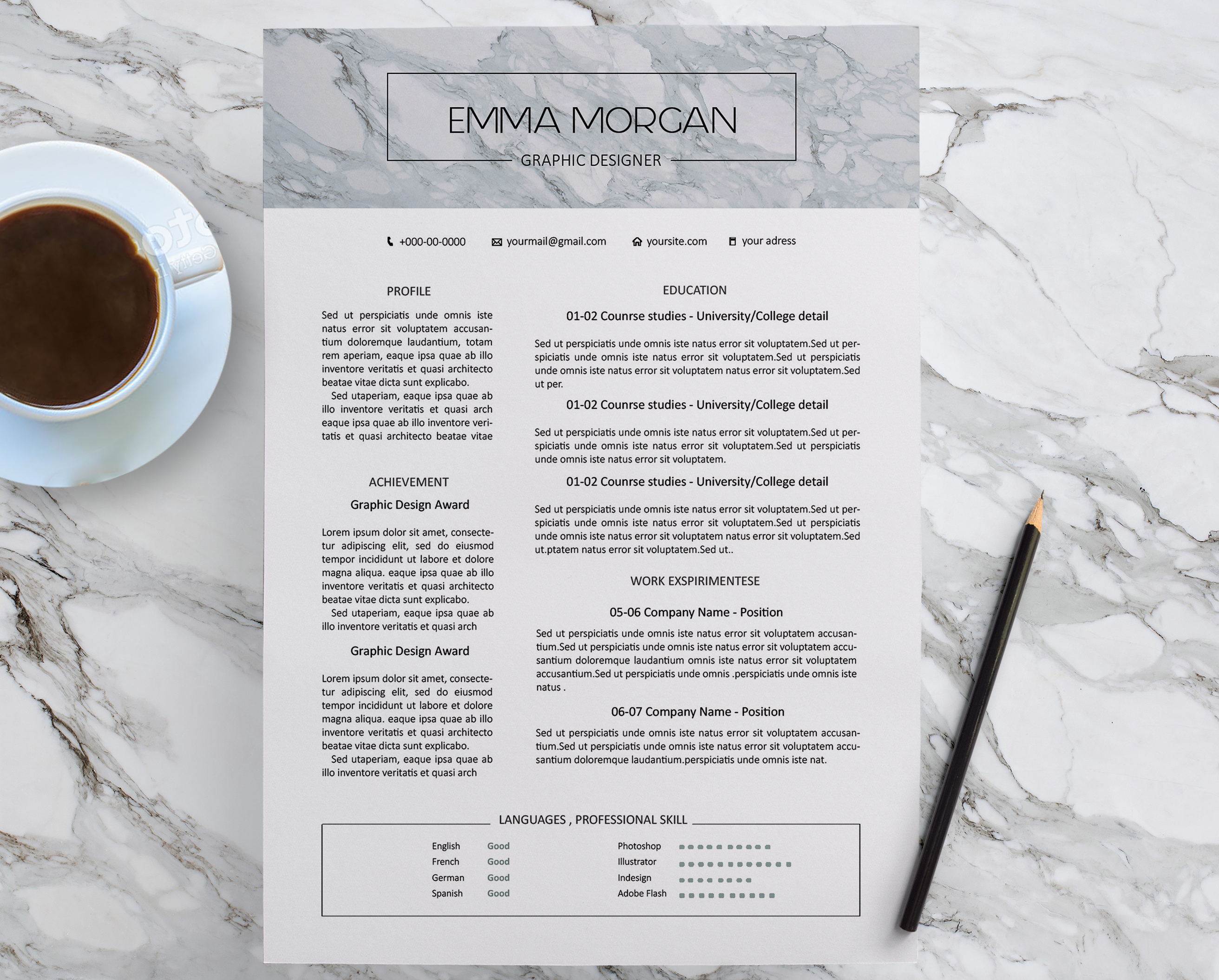 Check out my Behance project Marble simple Resume Template CV