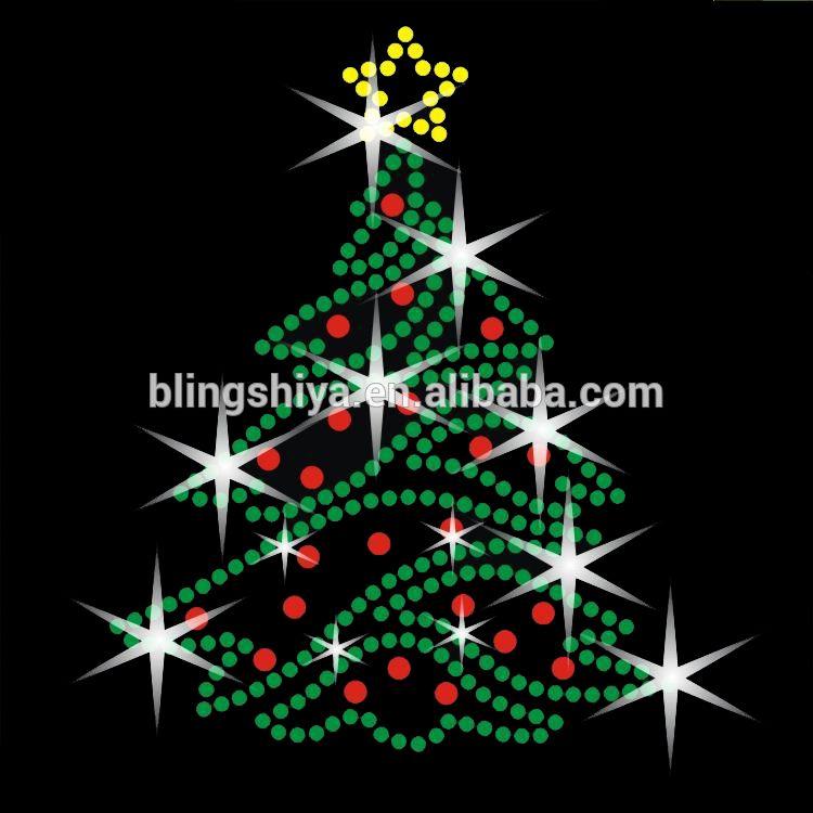 Merry Christmas with Tree Rhinestone Transfer   Знаки ...