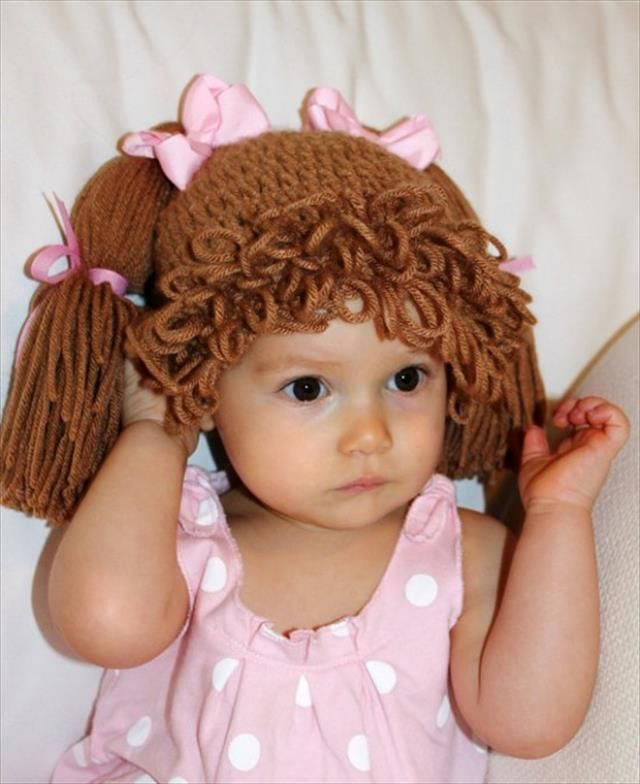 Cabbage Patch Knit Hat With Fringe And Pigtails Pattern Baby Hat