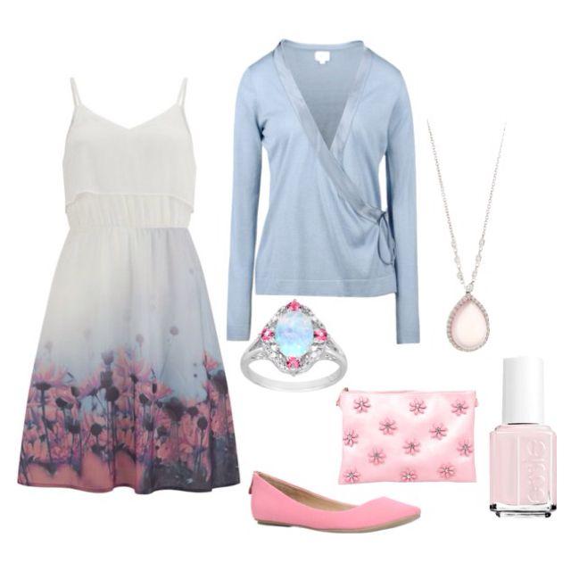 Pink Flower Dress w/ Blue Cardigan