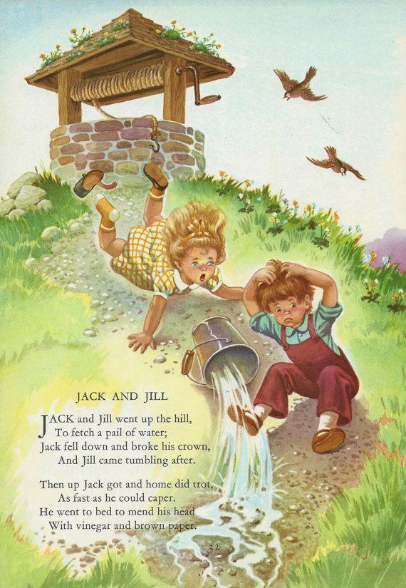 Vintage Children\'s Poem Illustration - 1960\'s Jack and Jill - Mother ...