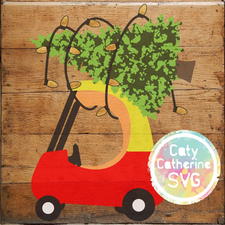 red and yellow kids car with christmas tree on roof svg cut file vinyl cutting files tree. Black Bedroom Furniture Sets. Home Design Ideas