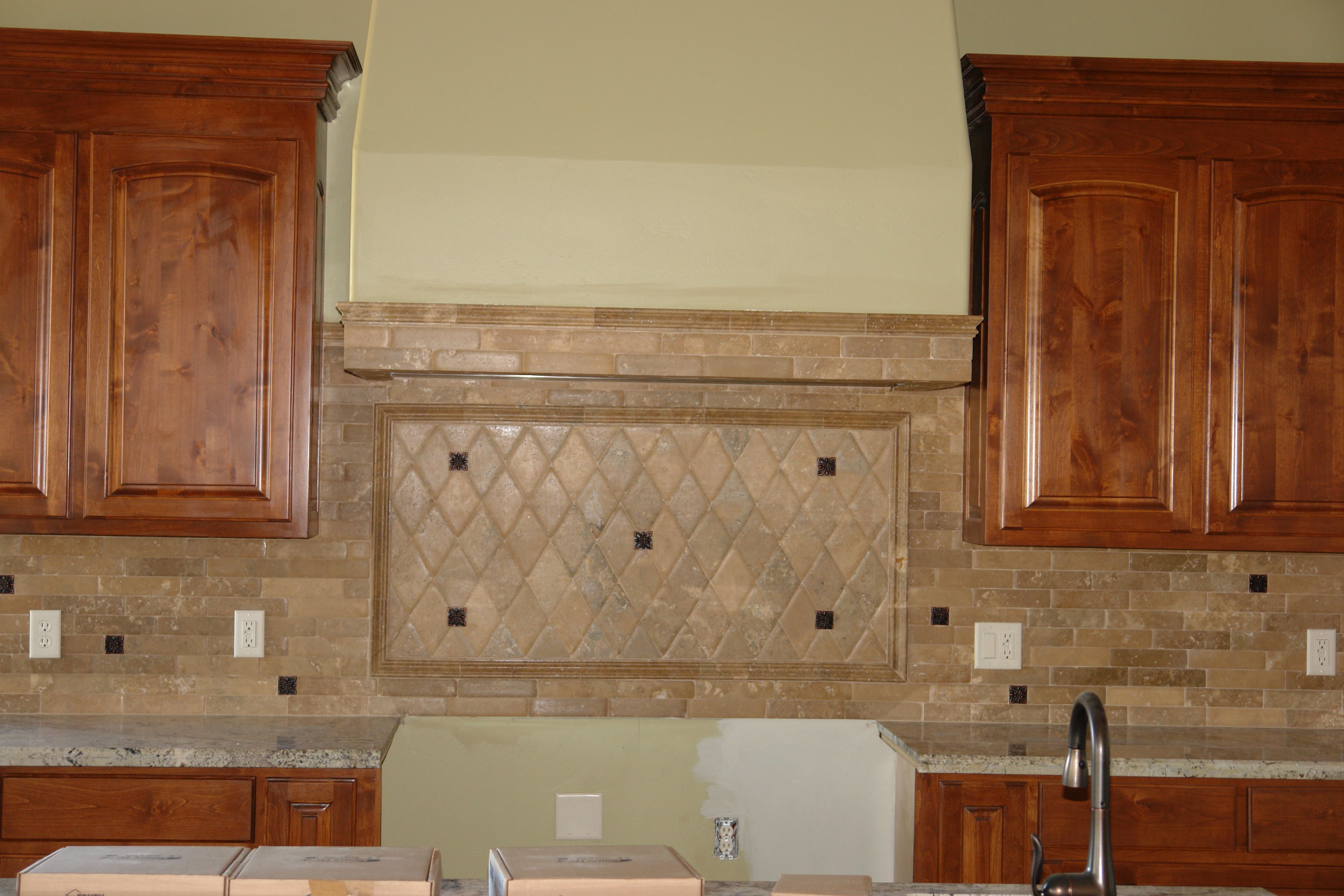 Kitchen Backsplash Edge kitchen backsplash using pillowed edge travertine | latest project