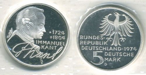 1974 D Germany 5 Mark Commemorative Coin Immanuel Kant